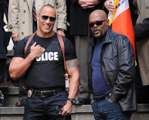 The Other Guys Movie Image On Set Samuel L- Jackson And Dwayne The Rock Johnson 2